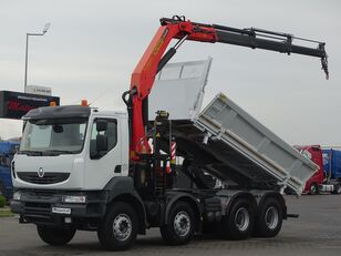 camion-benne RENAULT KERAX 450 DXI / 8X4 / 2 SIDED KIPPER / BORTMATIC + CRANE PALFING